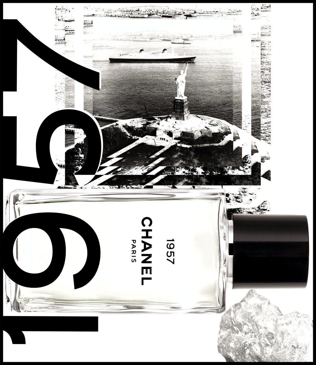 香奈兒Les Exclusifs精品香水1957象徵著香奈兒與美國的緣份。圖/香...
