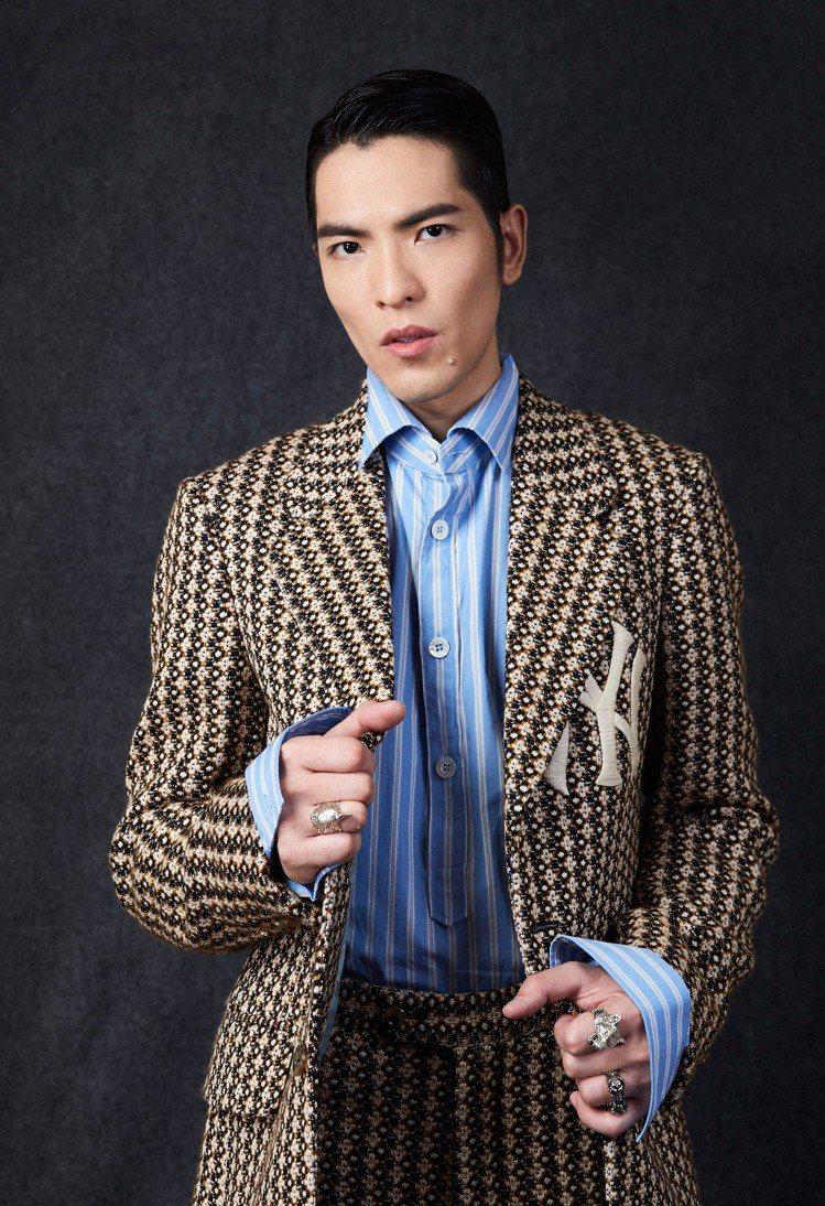 蕭敬騰穿上洋基系列西裝。圖/Gucci提供