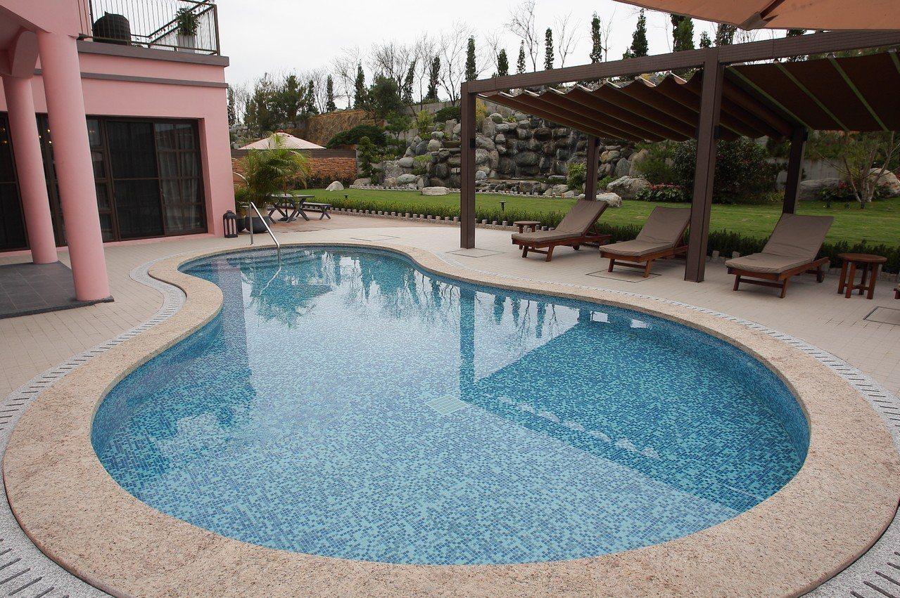 總統別墅內擁有獨立游泳池。記者陳睿中/攝影