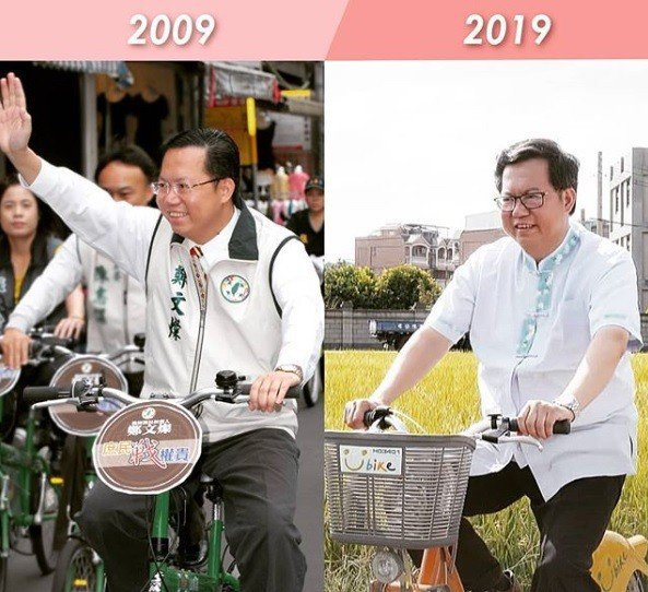 桃園市長鄭文燦在臉書與IG放上自己2009年與2019年騎單車照片,自我調侃「身...