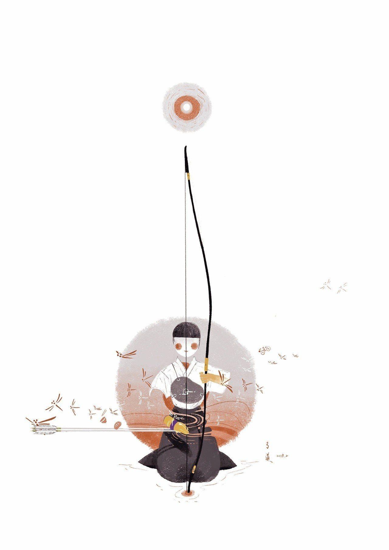 我為自己寫的〈弓道〉所繪製的插畫。 圖/Noveala