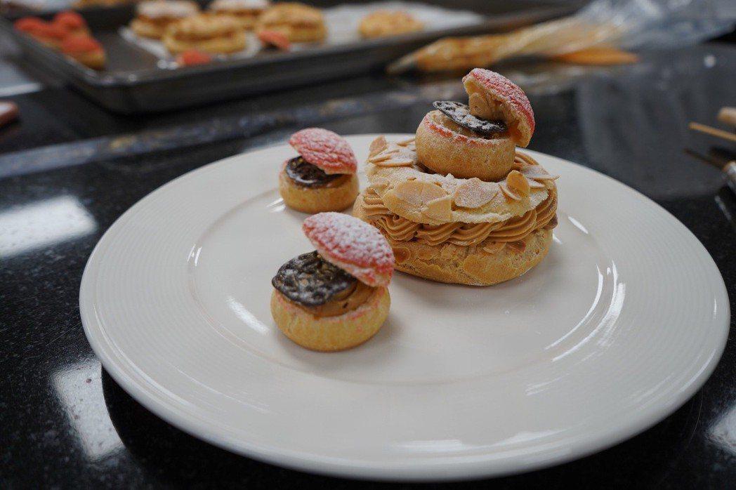 優美的擺盤巴黎布雷斯特,內餡豐富,視覺與味覺的享受。 健行科大/提供。