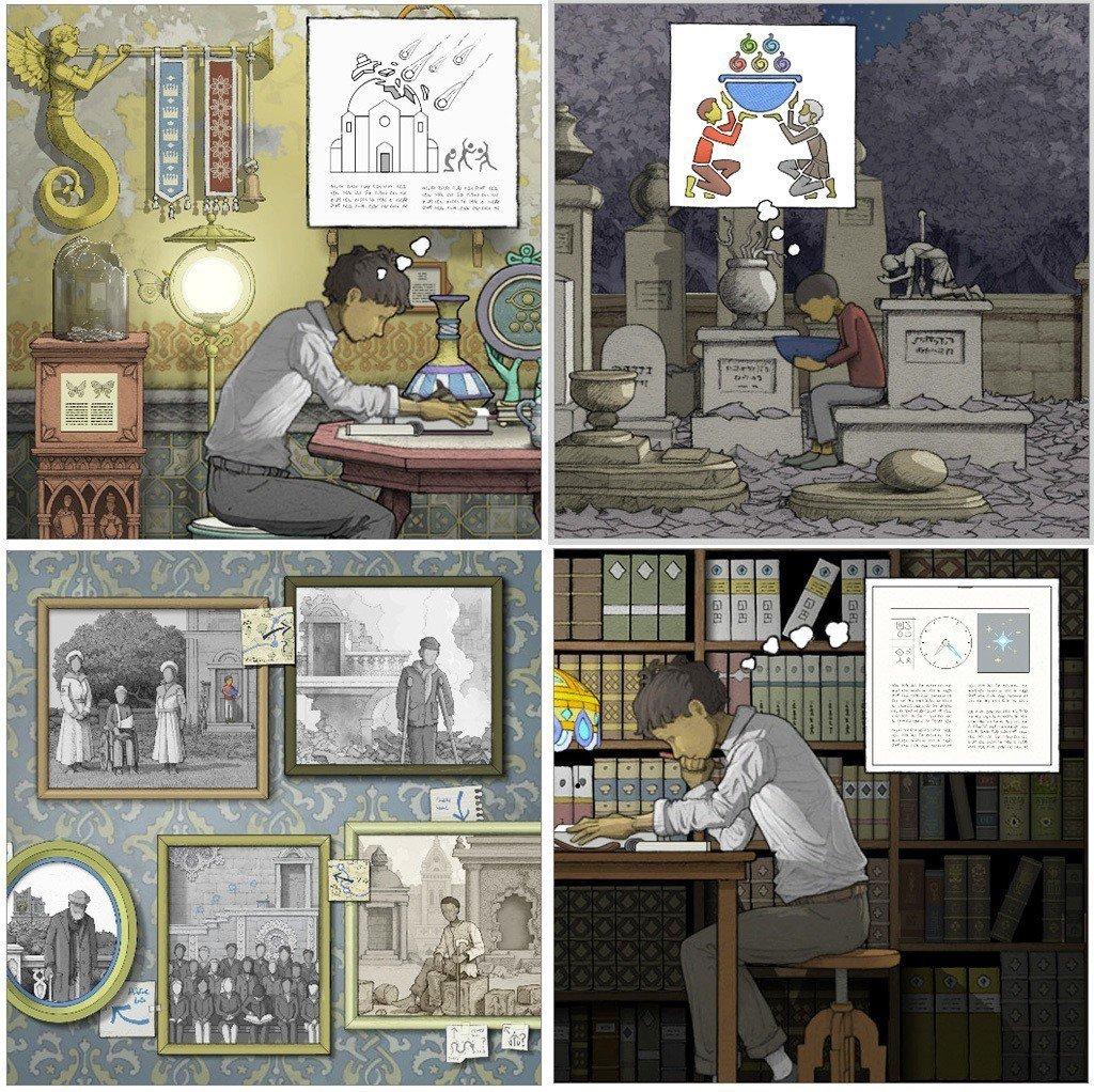 畫中世界基本上沒有任何文字敘述劇情,全都是用圖片或是人物的想像圖,來把所有的過程...