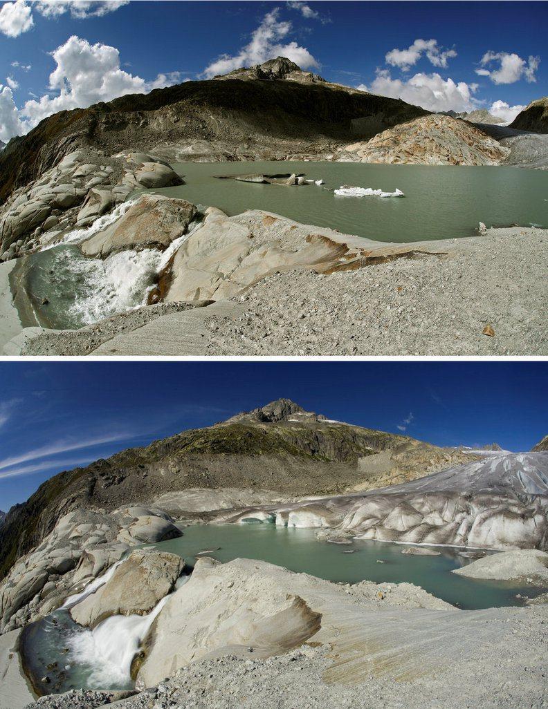 瑞士冰川十年來的變化。圖/遠見提供