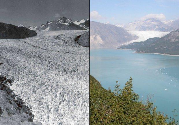 阿拉斯加冰川八十多年來的變化。圖/遠見提供