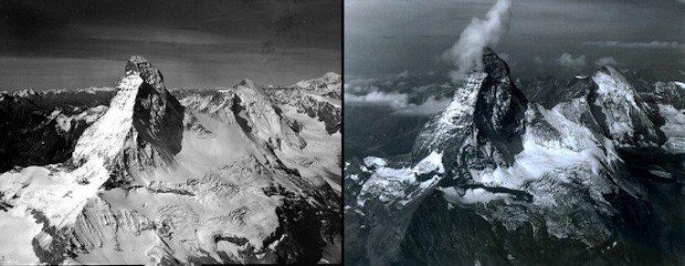 瑞士山峰積雪變化。圖/遠見提供