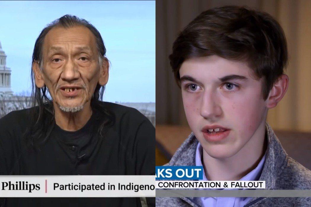 原住民菲利普斯(左)、高中生尼克(右)事後分別各自接受電視媒體訪問,談論與釐清對...