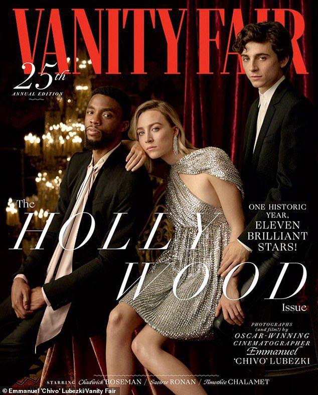 查德威克鮑斯曼(左起)、瑟夏羅南、提摩西夏勒梅登上「浮華世界」好萊塢主題封面。圖...