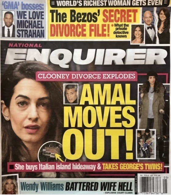喬治柯隆尼與妻子艾莫被以封面報導將離異。圖/摘自National Enquire...