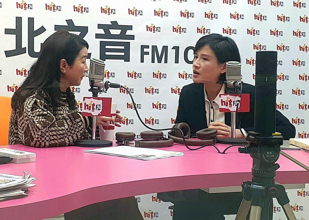 文化部長鄭麗君(右)上午接受電台專訪。記者陳煜彬/攝影