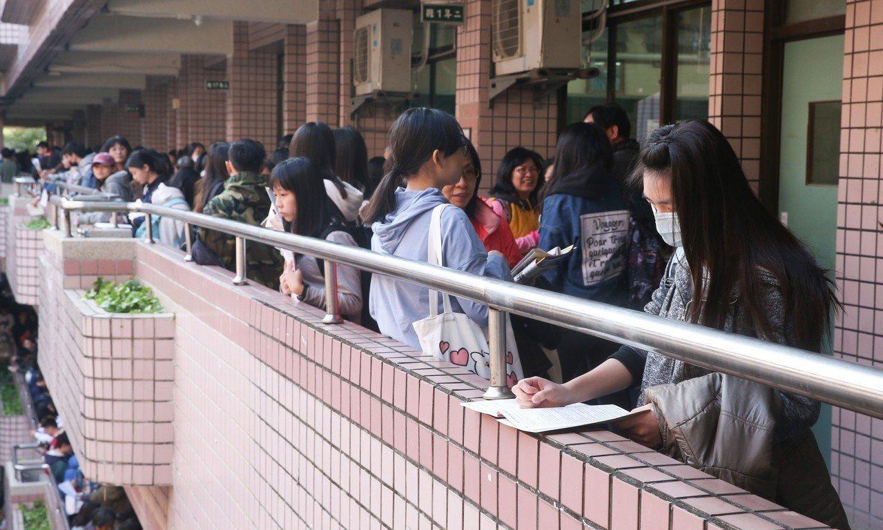 今天大學學測登場,第一場考英文科。記者余承翰/攝影