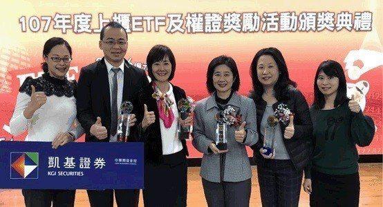 凱基證券優秀團隊榮獲櫃買中心ETF及權證競賽多項大獎 圖/凱基證券