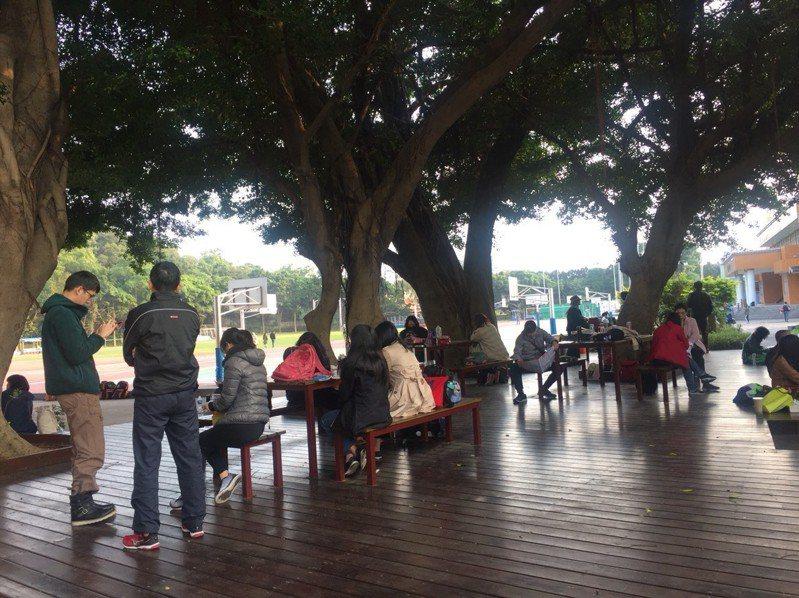 桃園高中為學測試場之一,不少考生親友坐在榕樹下等待休息。記者張裕珍/攝影