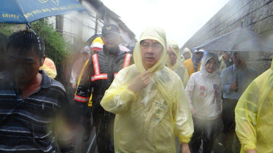 賴清德曾說:「這麼大的雨下在哪個城市不淹水?」引起議論。圖/聯合報系資料照片