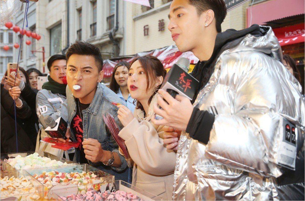 鄭人碩(左起)、可青、紀源採買年貨,開心試吃。記者徐兆玄/攝影