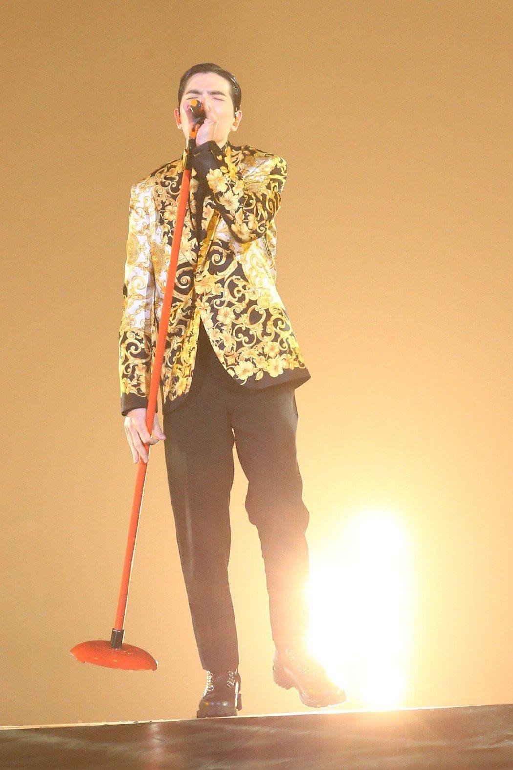 蕭敬騰26日在KKBOX擔任開場表演嘉賓。記者葉信菉/攝影