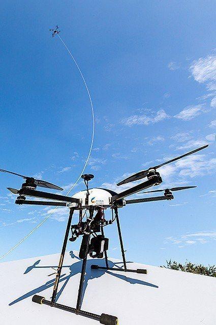 工研院的電信操控無人機隊解決方案,突破現行無人機必須經由目視操控的限制,而是透過...