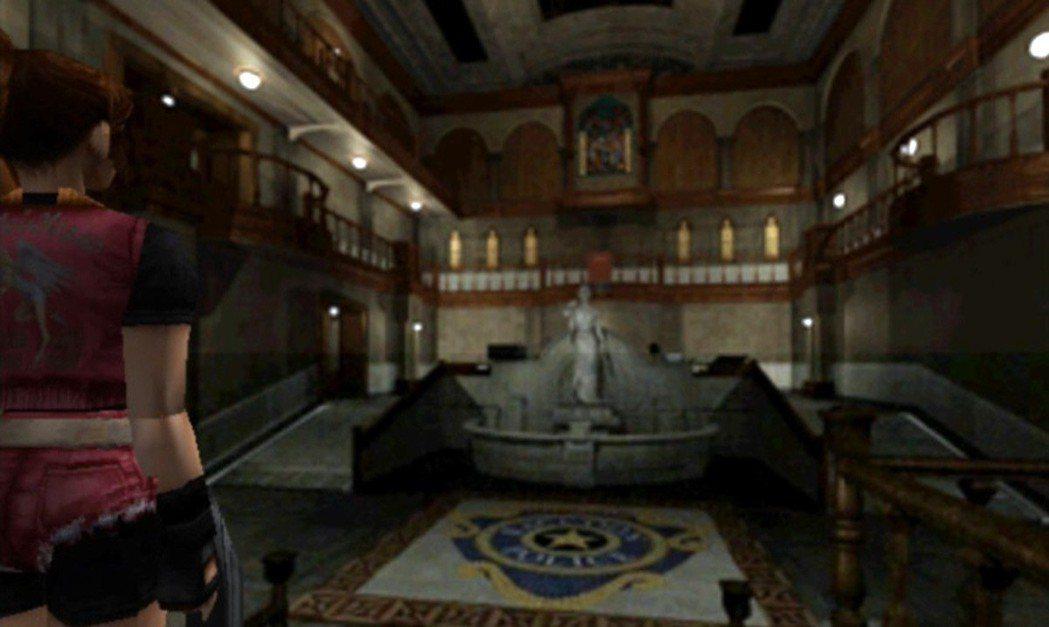 初版惡靈古堡2的警察局,一進到門口就會用這個視角將警察局大廳掃過一次,可說是經典...