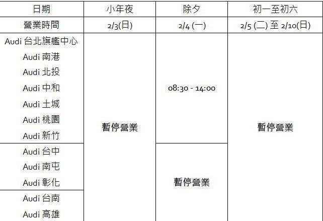 台灣奧迪全台授權服務廠農曆春節營業時間。 圖/台灣奧迪提供