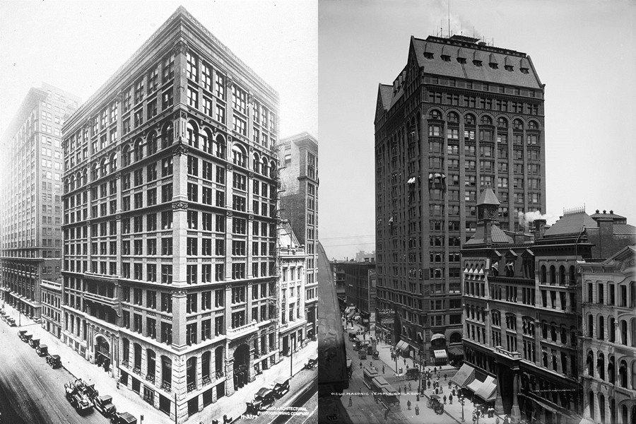 芝加哥的「家庭保險大樓」(圖左),史稱「第一座摩天大樓」。在19世紀末工業資本主...