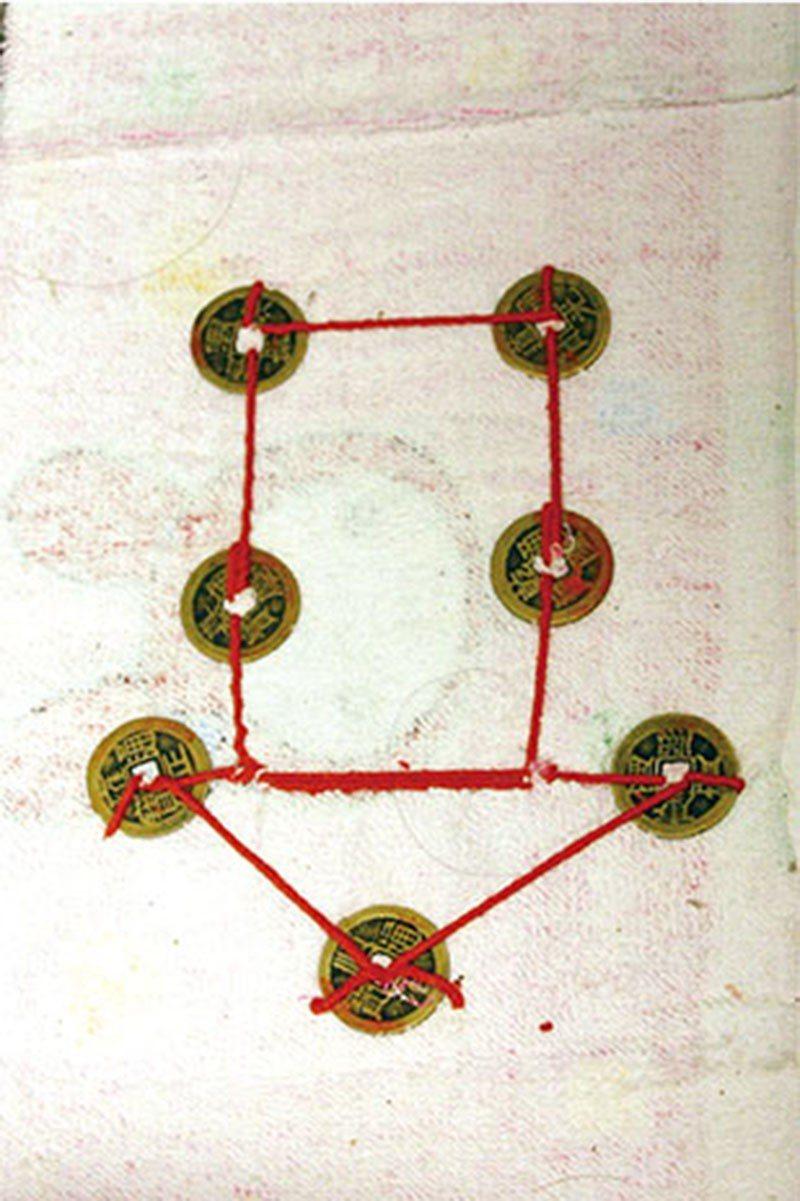 將7枚五帝錢縫成箭頭狀,朝屋內的方向擺放,便具有招財效果。