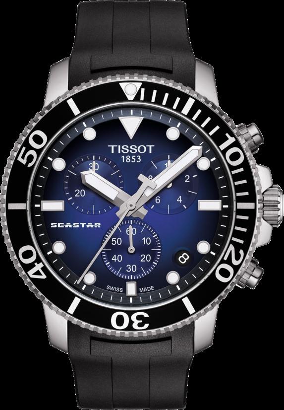 天梭海星潛水Seastar 1000系列石英機芯計時碼表,不鏽鋼表殼搭配橡膠表帶...