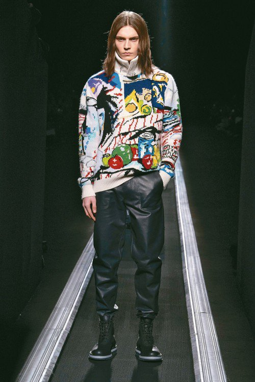 DIOR MEN與當代藝術家合作,針織衫具藝術感。 圖/DIOR提供
