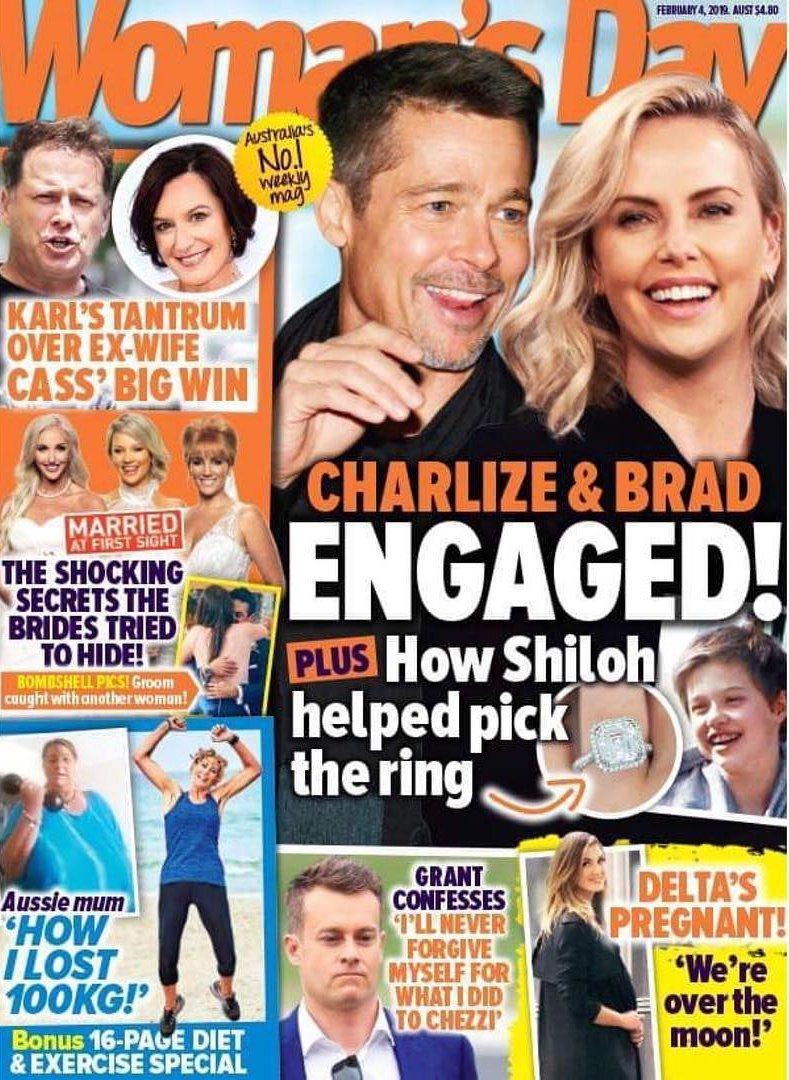 澳洲雜誌封面報導布萊德彼特與莎莉賽隆訂婚。圖/摘自Womans Day