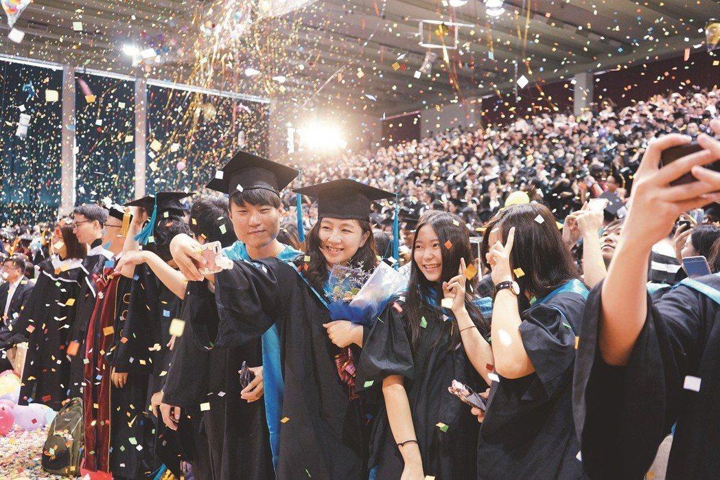 淡江大學學生歡慶畢業 淡江大學提供