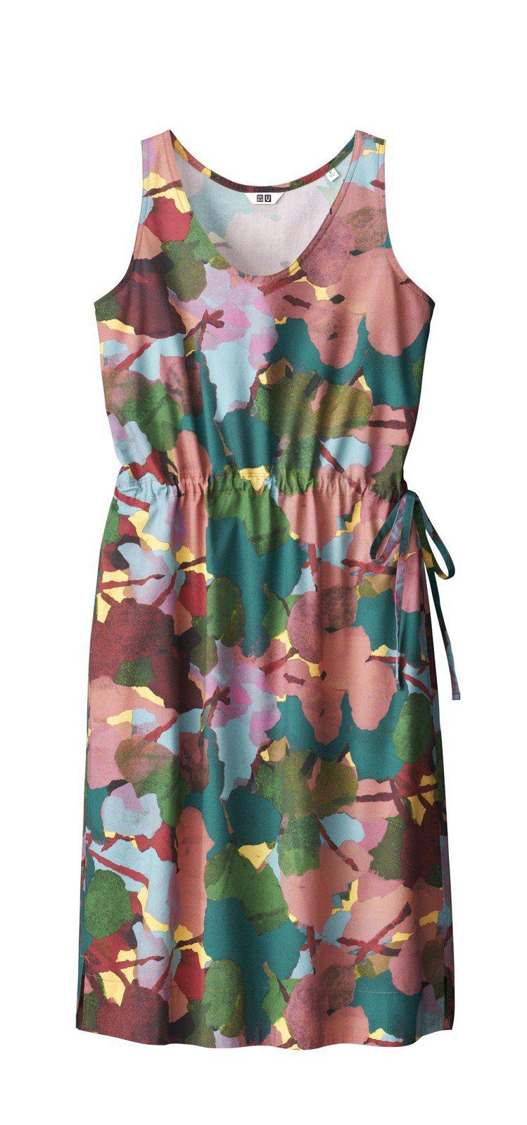 Uniqlo U系列女裝無袖抽繩印花洋裝1,490元。圖/Uniqlo提供