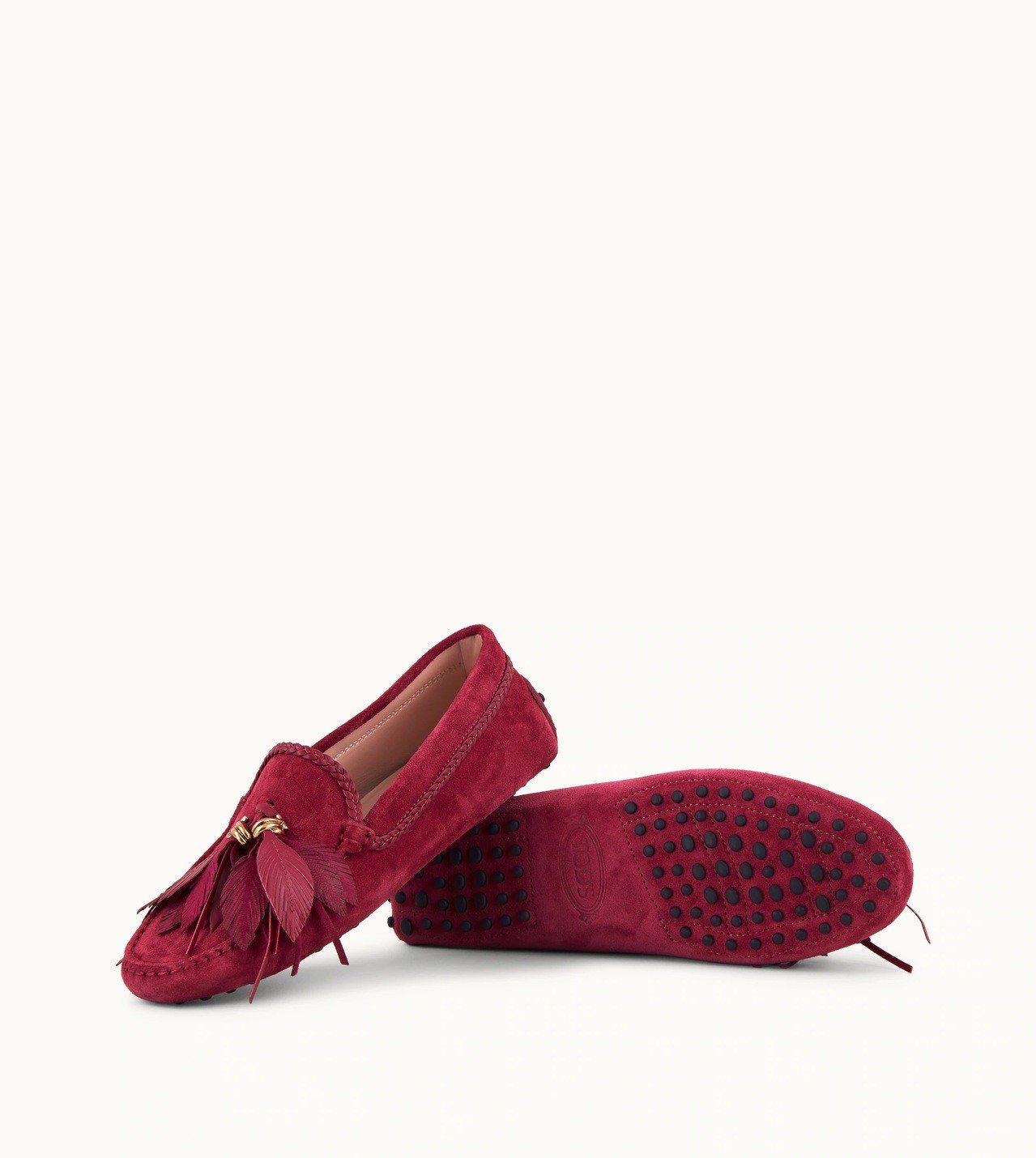 羽毛綴飾女士豆豆鞋,售價23,100元。圖/TODS提供
