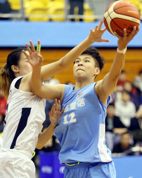 黃湘婷(右)攻下全場最高18分。記者侯永全/攝影