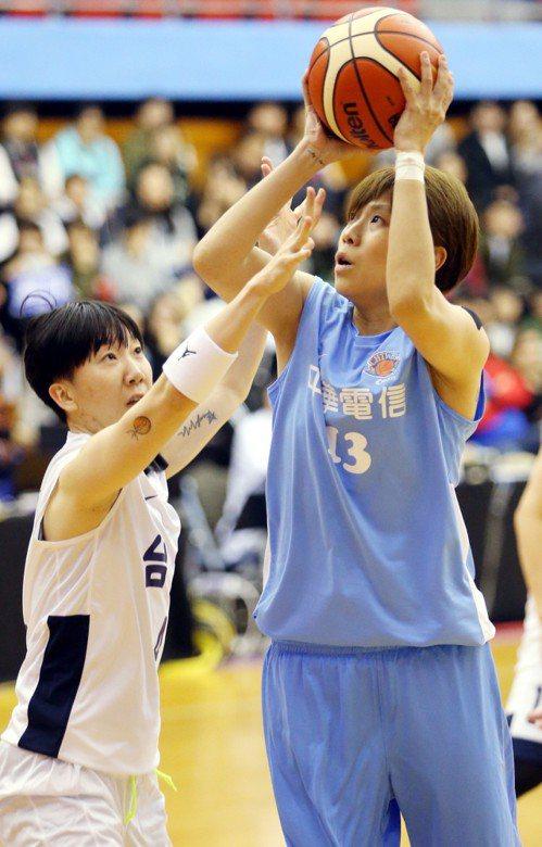 電信後衛文祺(右)在陳萓峰干擾下出手。記者侯永全/攝影