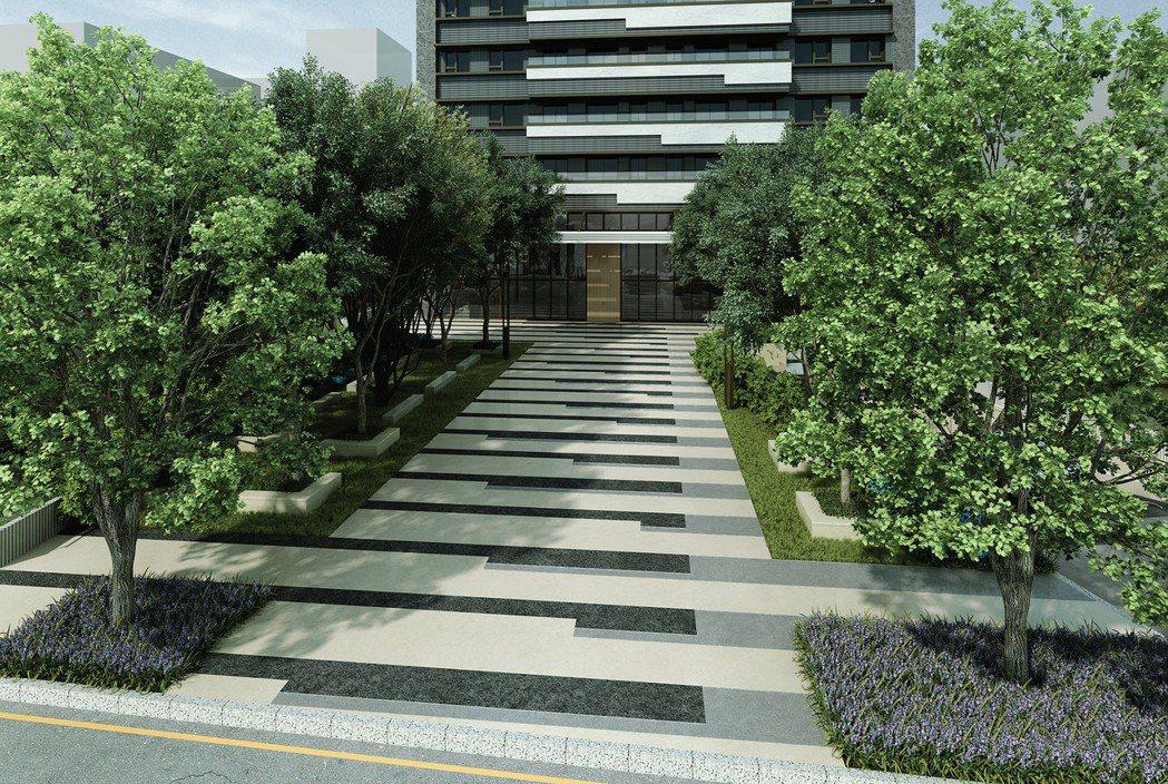 基地前空出300坪前庭,讓建築宛如自花園中而起,為永和一帶稀有規劃。 吉明秀/提...