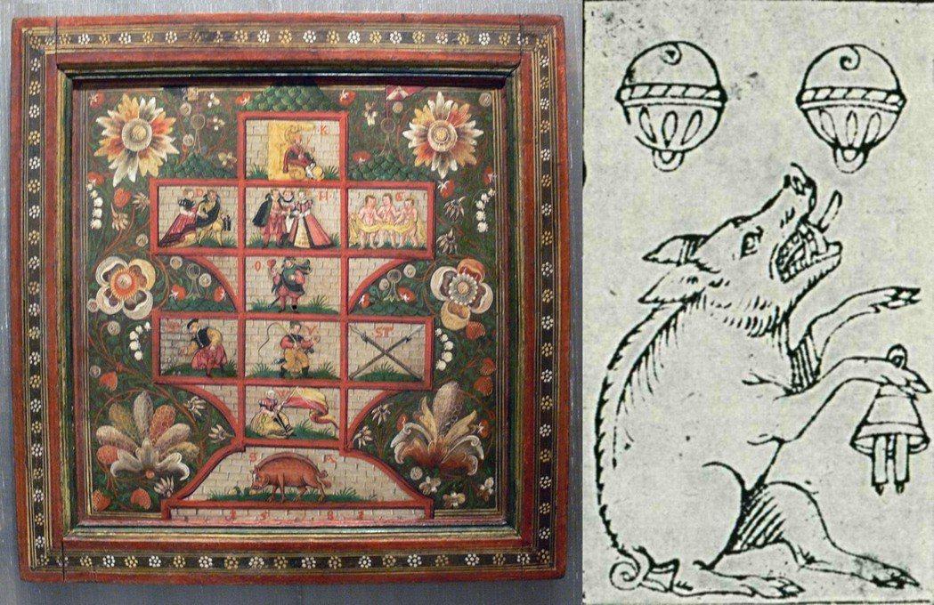 圖左:「幸運之家」(Glückshausspiel),遊戲規則各地在不同時期有所...