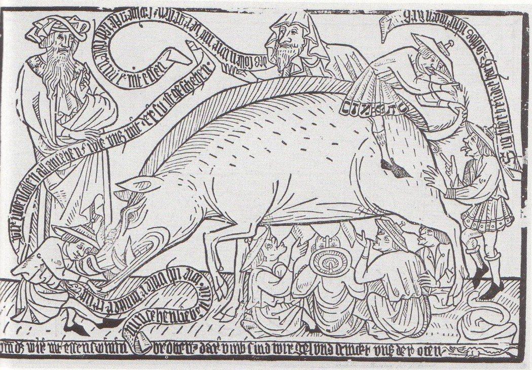 「猶太母豬」Judensau:現今從中世紀遺留至今的許多德國教堂,依然可見類似用...