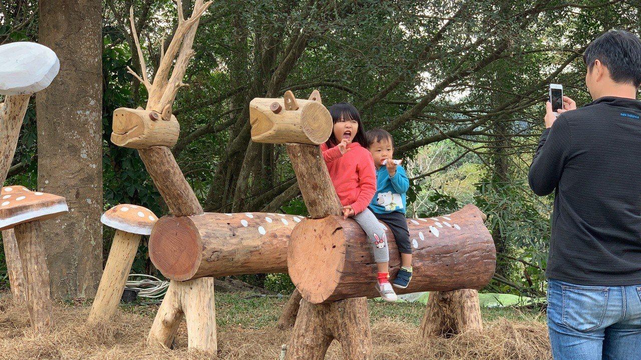 中興大學新化林場新打造的小鹿斑比原木造型區。記者吳淑玲/攝影