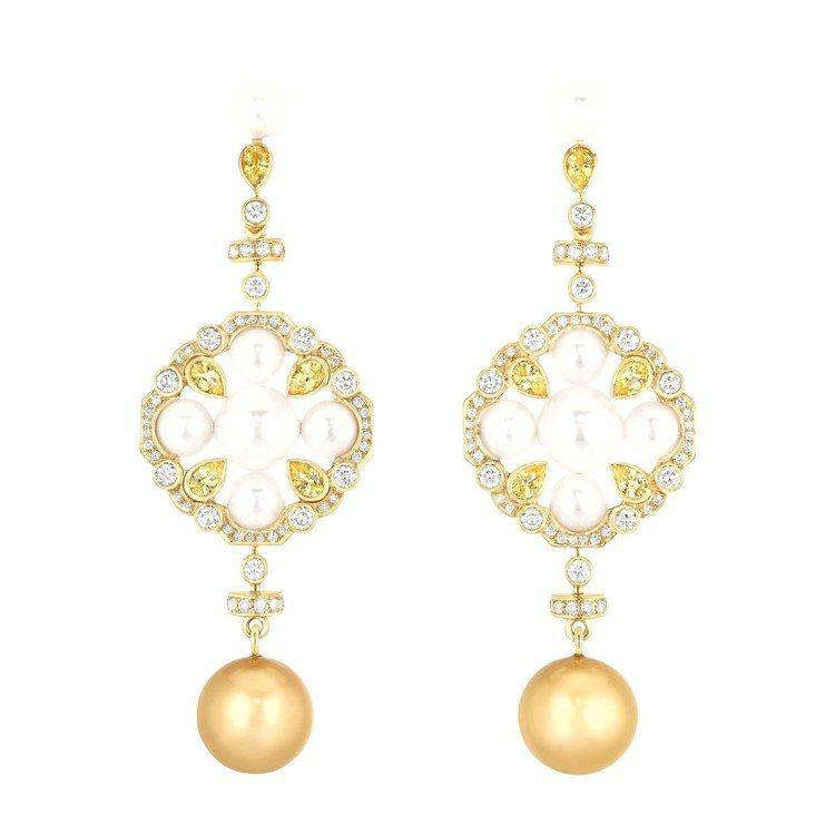瑪格羅比配戴San Marco耳環,18K黃金鑲嵌鑽石、黃色剛玉、南洋養珠及日本...