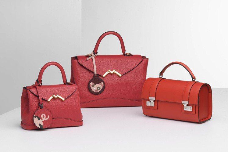 MOYNAT法式紅(左起)Gaby小型12萬3,000元、Gaby中型15萬5,...