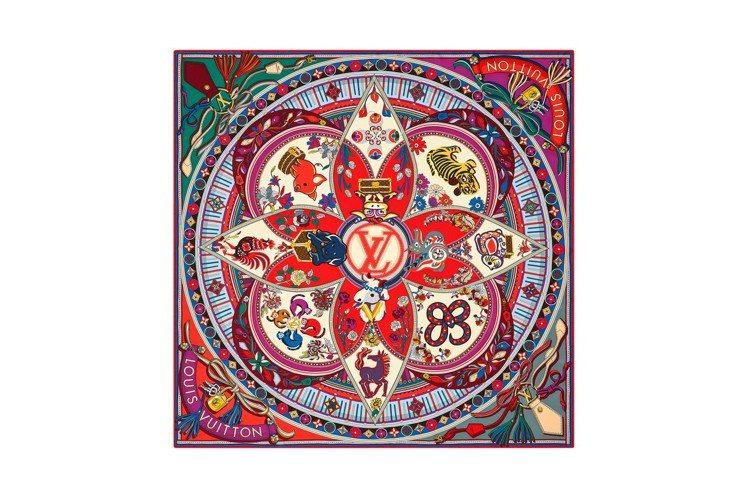 路易威登十二生肖印花絲巾,售價16,300元。圖/LV提供