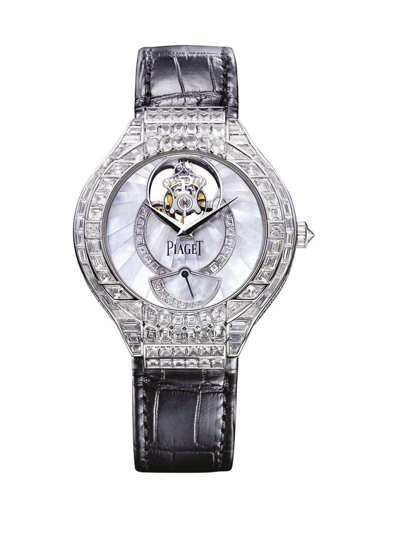 Piaget Polo 18K白金鑲鑽陀飛輪腕表,2,040萬元。圖/伯爵提供