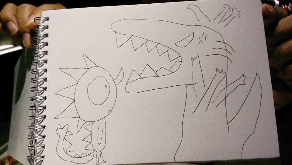 綺綺生前畫下被媽媽罵的恐龍圖案。圖/取自施景中臉書