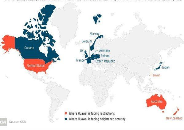 華為在世界各地面臨的限制或加強監督。橘色代表華為現在面臨限制的地區(包括:美...