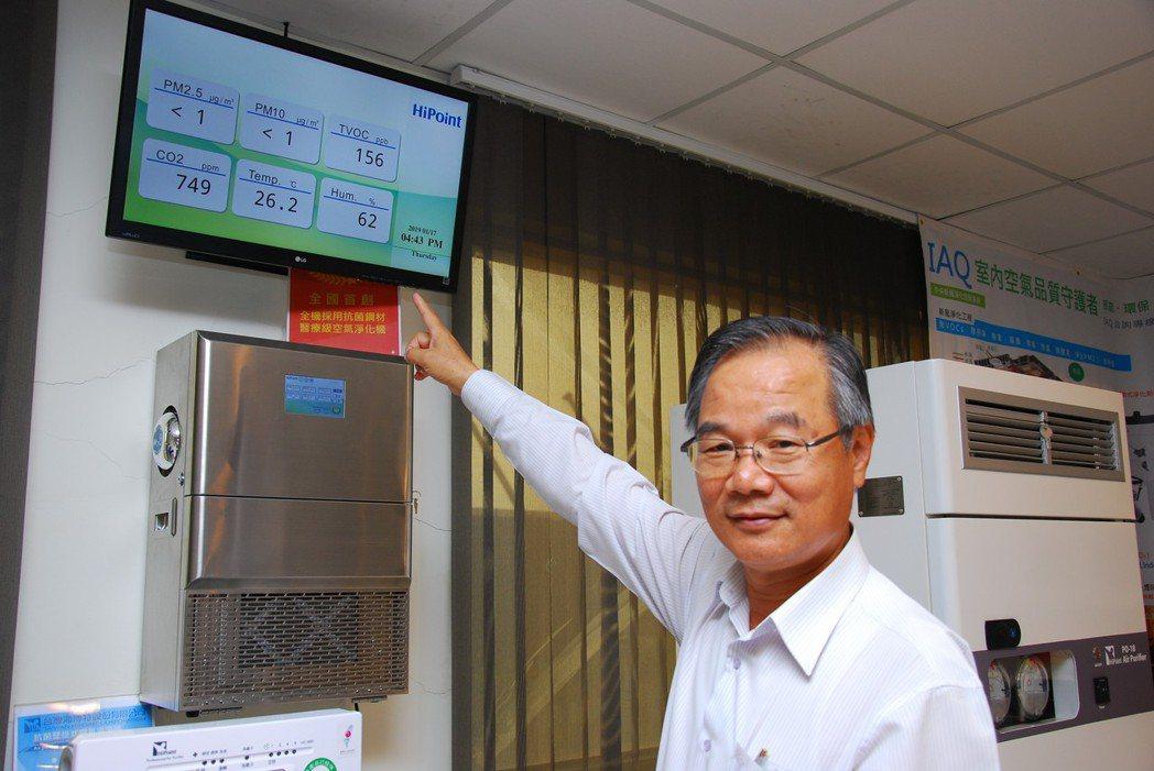 台灣海博特總經理張簡慶賓指著監控畫面表示,有檢測數據才知道如何處理汙染源,處理後...
