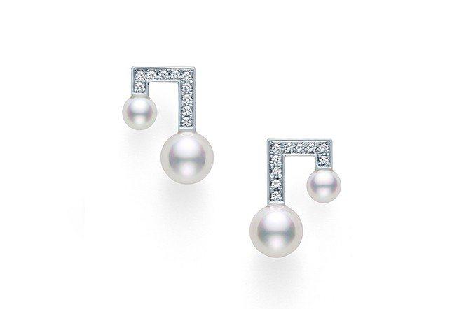 TASAKI balance note pavé 鑽石珍珠白K金耳環。(TASA...