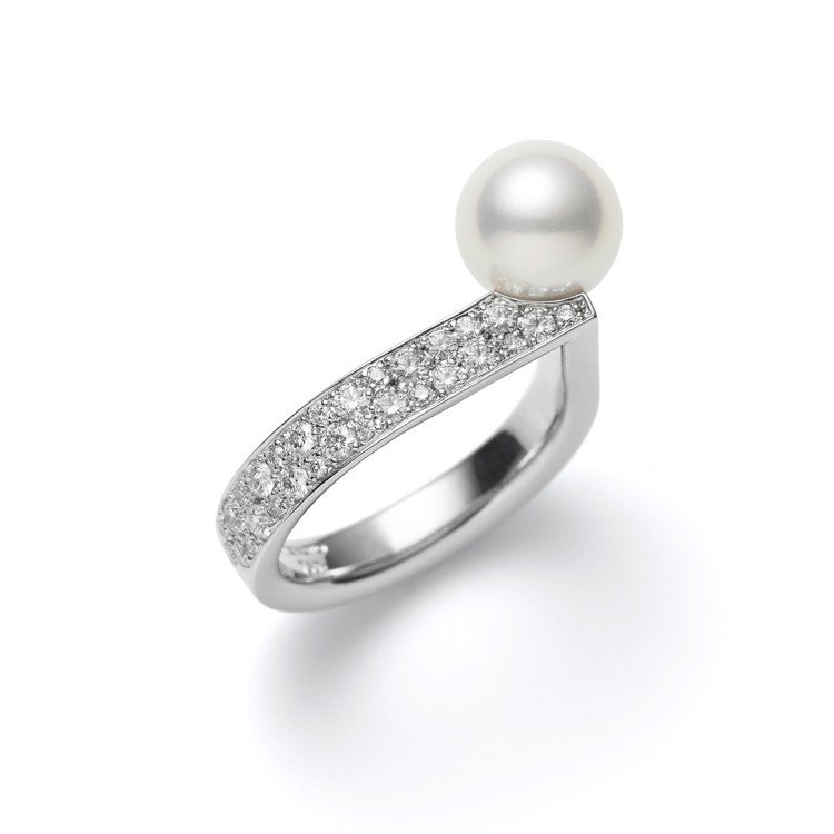 MIKIMOTO Universe Elements日本Akoya珍珠鑽石戒指,...