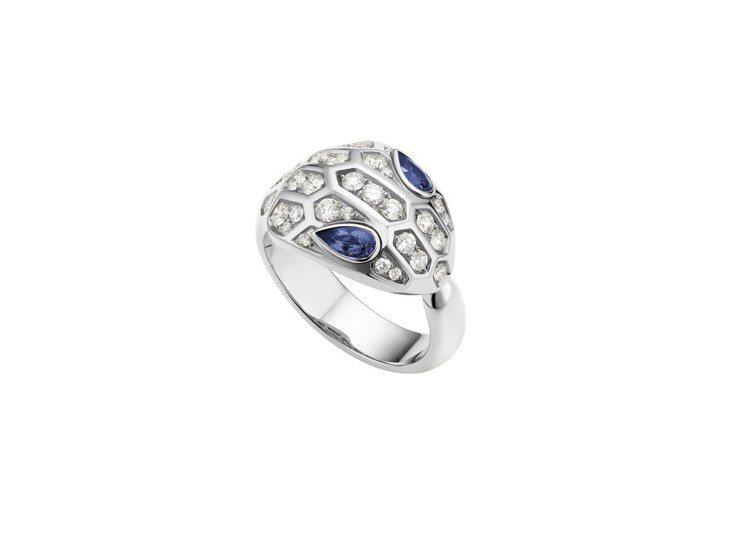 BVLGARI Serpenti Eyes on Me 系列鑽石與藍寶石戒指,3...