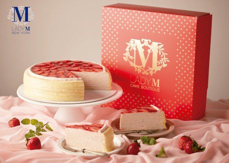 2月份全球獨家的草莓香緹千層蛋糕,單片售價280元、9吋2,800元。圖/Lad...