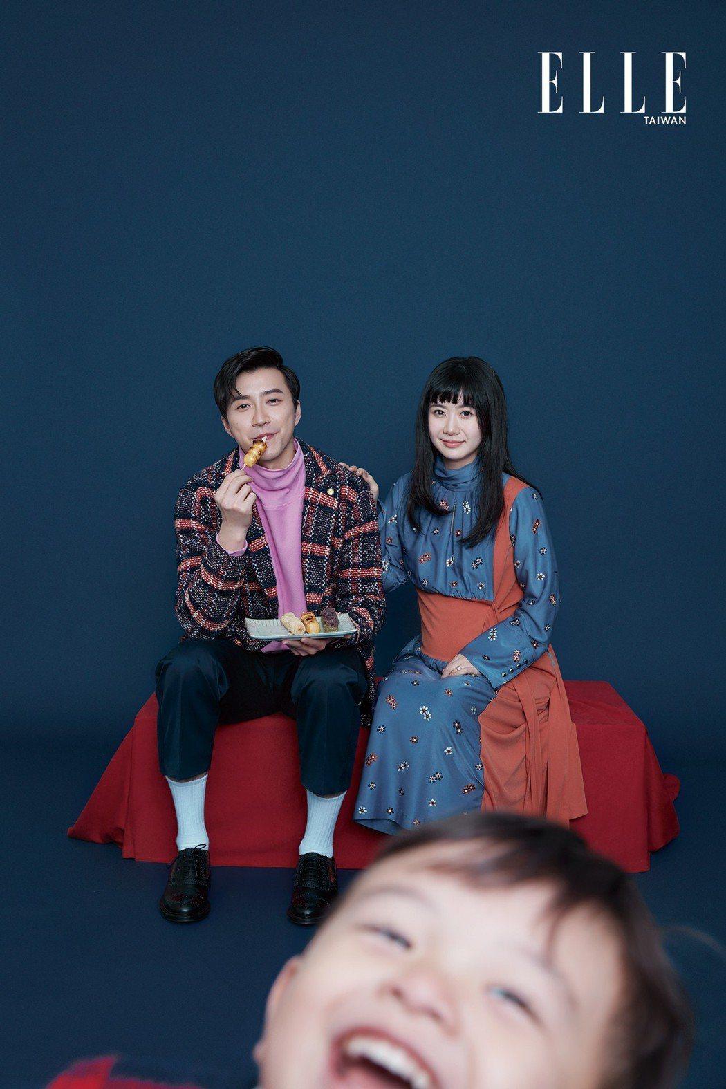 江宏傑(左)與福原愛一家三口拍攝雜誌。圖/ELLE提供