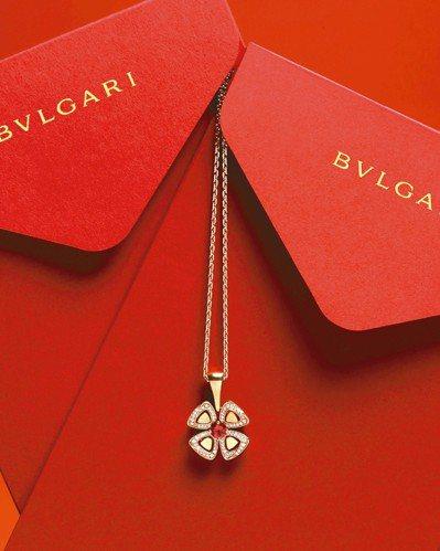 寶格麗Fiorever咏綻系列項鍊農曆新年特别款,18K玫瑰金鑲飾一顆圓形切割紅...
